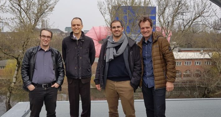 Alberto Traverso and Alessandro Sorce with Prof. Panagiotis Stathopoulus (left) and Prof. Oliver Paschereit (right) at TU Berlin, Germany, March 2017