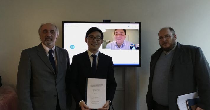 Prof. Massardo at Queens College London Univeristy (11 November 2016) for PHD VIVA EXAMINATION. (right Prof. Laskaridis, Cranfield Univeristy, on the screen Prof. Korakianitis QMLC, candidate Mr. Xiang Shen, and Prof. Massardo)