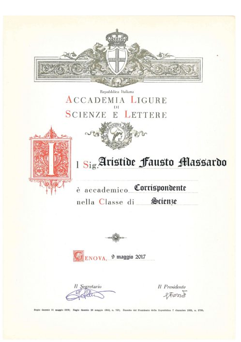 Prof. Massardo is a new member of the Liguia Academy of Science and Letters established in 1789 in Genoa